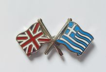 UNION JACK & GREECE - FLAG FRIENDSHIP BADGE (T370)